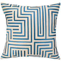 Mira Mesa Blue Embroidered Geometric Pillow on Sale