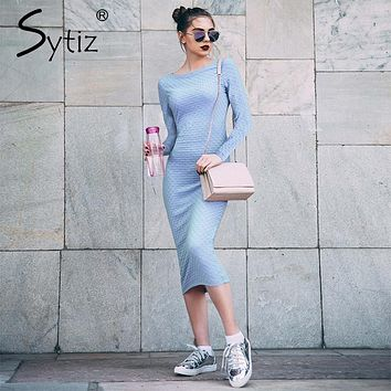 Sytiz Blue Bodycon Jacquard Dress with Long Sleeve Autumn Women Knee Length Dress Robe 2017 Elegant O-Neck Fitness