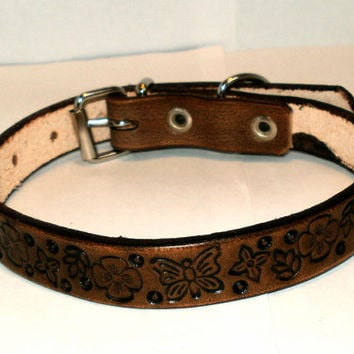 "Leather dog collar, 5/8"" wide, 12 in, brown, tooled, mixed floral design"