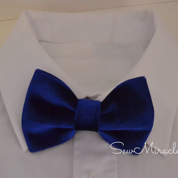 Velvet Bow tie, blue colour, All sizes, Baby bow tie, Child bow tie, Men's bow tie, Handmade accessory, Wedding Accessory