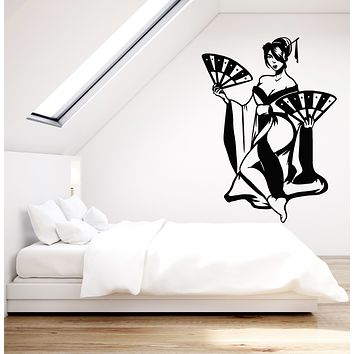 Vinyl Wall Decal Beautiful Woman Geisha Japanese Hand Fan Stickers Mural (g1290)