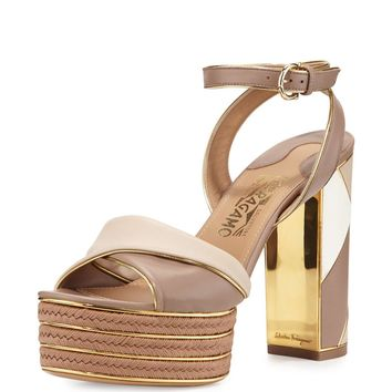 Gaga Patchwork Leather Platform Sandal, Nutmeg