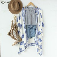 Summer Women Tops and Blouses Casual Ladies Half Sleeve Open Front Vintage Pattern Print Loose Kimono