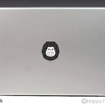 Macbook decal, Happy Hedgehog, Apple decal, Macbook pro,Laptop decal,Stickers for pro/air/ipad,MacBook ipad decal,black cat,Free shipping