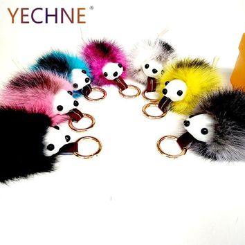 YECHNE Mink Fur Key Holder New Fluffy Cute Hedgehog Key Chain Leather Tail Pom Pom Key Ring Charm Fur Handbag Car Pendant