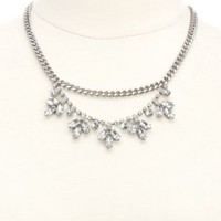 Sparkling Rhinestone Statement Necklace by Charlotte Russe - Silver