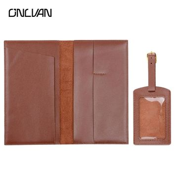 ONLVAN Genuine Leather Passport Cover Luggage Tags with Name Card Travel Accessories Suit Customized Passport Holder