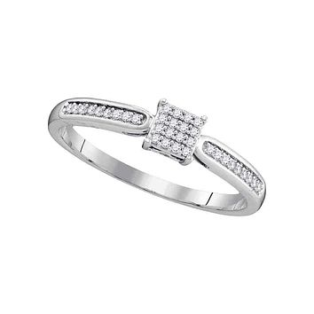10kt White Gold Womens Round Diamond Square Cluster Bridal Wedding Engagement Ring 1-10 Cttw