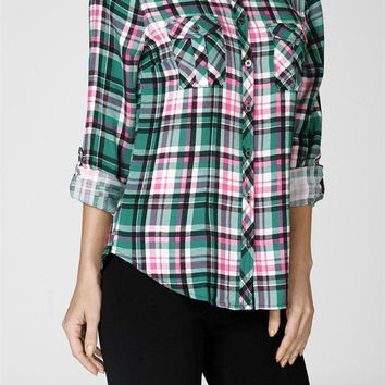 Casual Plaid & Check Print Rollup Long Sleeve Button Down Shirt Blouse Top