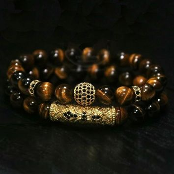 Luxurious Natural Tigers Eye and Black Coat Copper High End Beaded Bracelet