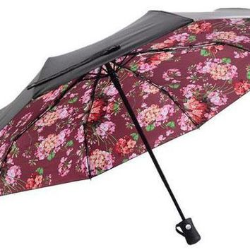 Gucci Trending Innovation Fully Automatic Women Men Print Folding Umbrella Red