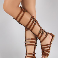 Strappy Buckle Open Toe Gladiator Knee High Flat Sandals
