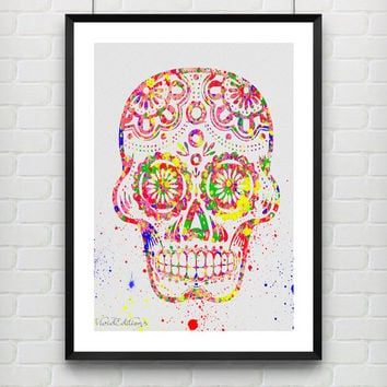 Day of the Dead Sugar Skull Watercolor Art Print, Minimalist Art Print, Watercolor Home Decor, Buy 2 Get 1 Free!