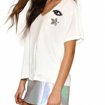 White V-Neck Short Sleeve Sequined Eye and Star T-Shirt
