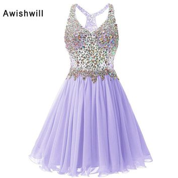 V-neck Short Prom Dresses 2018 Cheap Plus Size Crystal Beaded Chiffon A-line Party Homecoming Dress For Girls Vestidos De Festa