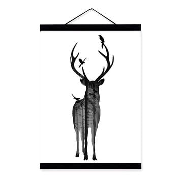 Deer Bird Black White Nordic Minimalist Animal Silhouette Wood Framed Canvas Painting Wall Art Print Picture Poster Scroll Decor