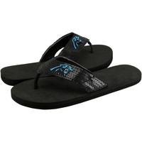 Carolina Panthers Ladies Team Color Sequin Flip Flops - Black