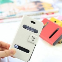 ZLYC Leather Book Style Protective Cover Simple Luxury Case for iPhone 4/ 4S (white)