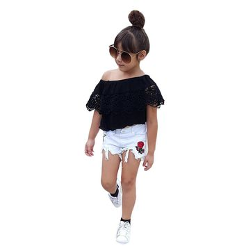 2 pcs set Girls clothes set Toddler Kids Girl Off Shoulder Lace T Shirt Tops Flower Shorts Pants Clothes Set drop shipping