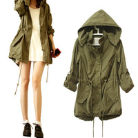 Women Jacket Winter Warm Army Green Military Parka Trench Hooded Coat Jacket