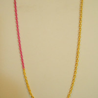 30 inch long Single Hot Pink and Yellow Asymmetrical Layering Necklace