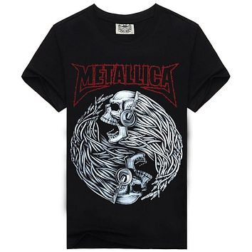 Tops & Tees Heavy Metal T Shirt Fashion Metallica Men T shirt Men Brand Clothing Rock T-shirt Man Mens Music 3D Print T-shirt