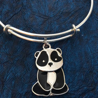 Panda on Expandable Adjustable Wire Bangle Gift Trendy Unique Bracelet Trendy Fun Unique Handmade Made in USA
