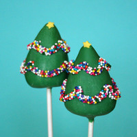 12 Christmas Tree Cake Pops - for winter or holiday party favors, hostess or teacher gift, stocking stuffers, Secret Santa, wedding