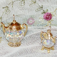 Large Gold Vermeille and Swarovski Crystal Teapot Charm