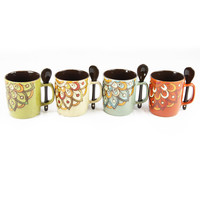 Mr. Coffee Retro Cafe 4 PC 14 oz Mug w- Spoon Set