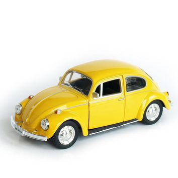 Model Car Toy 1/32 Scale Yellow Volkswagen Beetle 1967 Vintage Diecast Pull Back Car Kids Toys Gift Collection