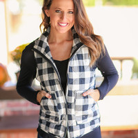 Buffalo Check Puffer Vest - Black and Ivory
