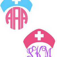 "4"" Nurse Monogram Decal for Car, Notebook, Laptop, Water Bottle, Anything!"