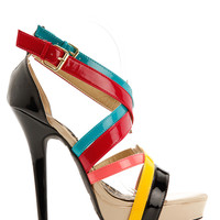 Colorful Crisscross Strappy Sandal Heels