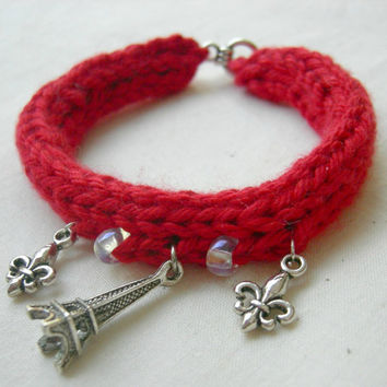 Red Rouge Paris Inspired Bracelet / Cotton / Eiffel Tower charm