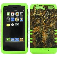 BUMPER CASE FOR MOTOROLA DROID RAZR XT912 LIME GREEN SKIN CAMO BROWN LEAVES HARD CASE