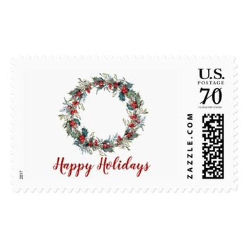 Holly Wreath Happy Holidays Postage Stamp
