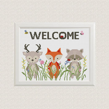 animals Cross Stitch pattern Baby fox deer raccoon, modern cross stitch flowers , Welcome cross stitch nursery cross stitch kids decor room