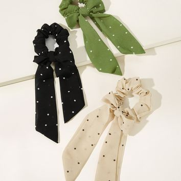 Polka Dot Pattern Scrunchie 3pcs