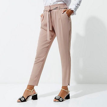 Pink tapered tie waist pants - Workwear - Sale - women