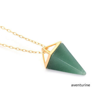 Healing Crystal Opal Pyramid Amethyst Necklace Gold Plated Howlite Rose Quartz Amulet Natural