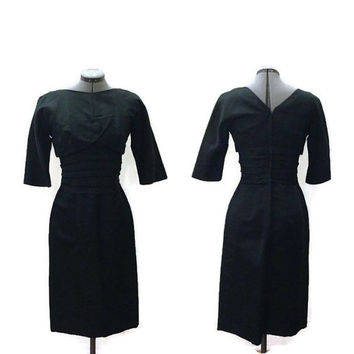1950s Dress, Vintage Black Satin Cocktail Dress, Wiggle Dress, Holiday Party Rockabilly Pinup, Suzy Perette, Sz. M