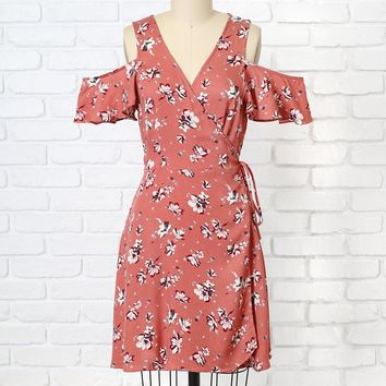 Cayla Floral Cold-Shoulder Wrap Dress-FINAL SALE