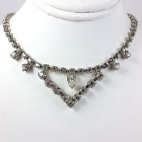 Choker Necklace Vintage Rhinestone White Silver Tone 15 inch n400