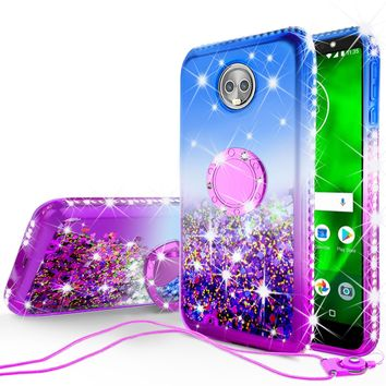 Glitter Phone Case Kickstand Compatible for Motorola Moto G6 , Moto G6 2018 Case,Ring Stand Liquid Floating Quicksand Bling Sparkle Protective Girls Women for Moto G6/Moto G6 2018 - (Blue Gradient)