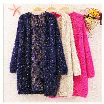 spring Winter Sweater Knitwear women  Cardigan Female Casual  Mohair Cardigans Women Long Warm Sweaters Coat knitted 580