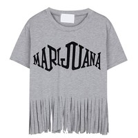 Short Sleeves Letter Print T-shirt With Tassel Hem