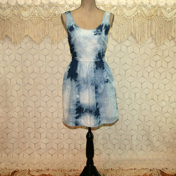 Women Denim Tie Dye Dress Summer Dress Fit and Flare XS Small Boho Hippie Clothes Casual Cotton Dress Pockets Womens Dresses Womens Clothing