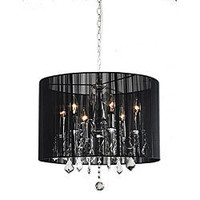Chrome and Black 6-light Crystal Chandelier | Overstock.com