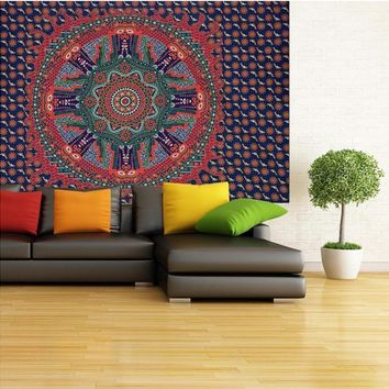 Ouneed Mandala Wall Hanging Tapestry India Style Beach Towel Blanket Mat Eco-friendly Printed Happy Sale ap516